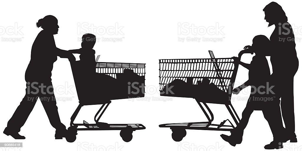 Supermarket Moms (Vector) royalty-free stock vector art