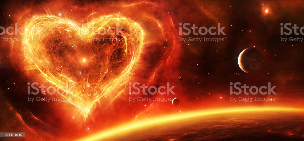 Supernova nebula heart vector art illustration