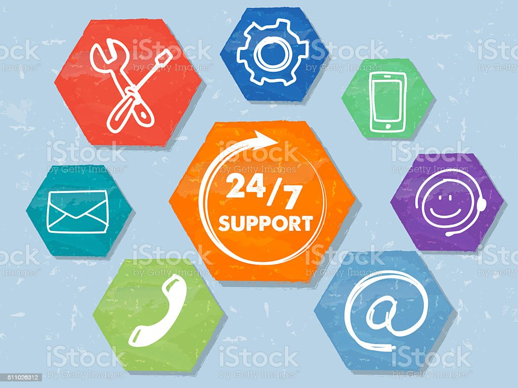 24/7 support with network signs, grunge drawn hexagons labels stock photo