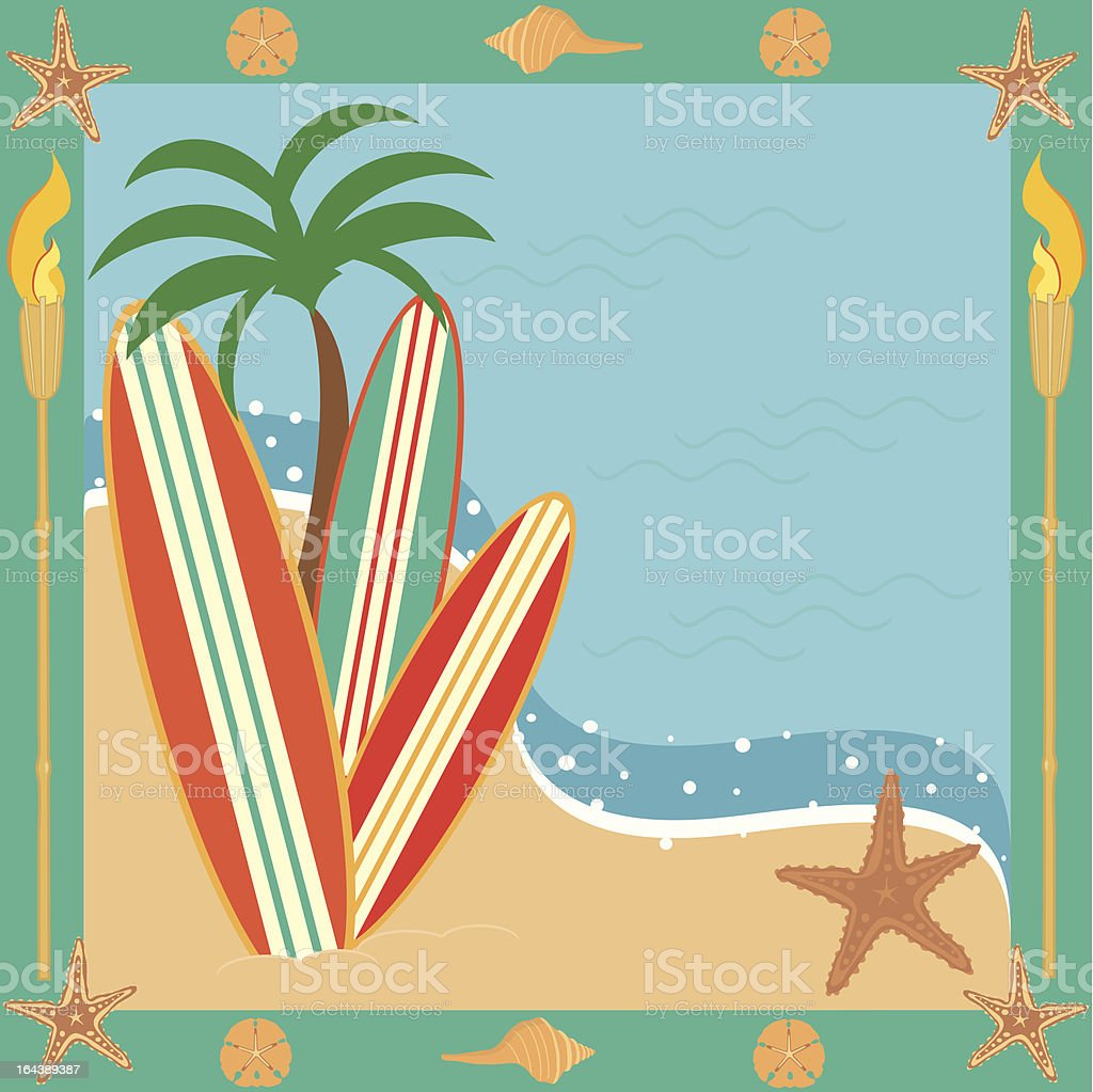 Surf or Beach Party Invitation vector art illustration