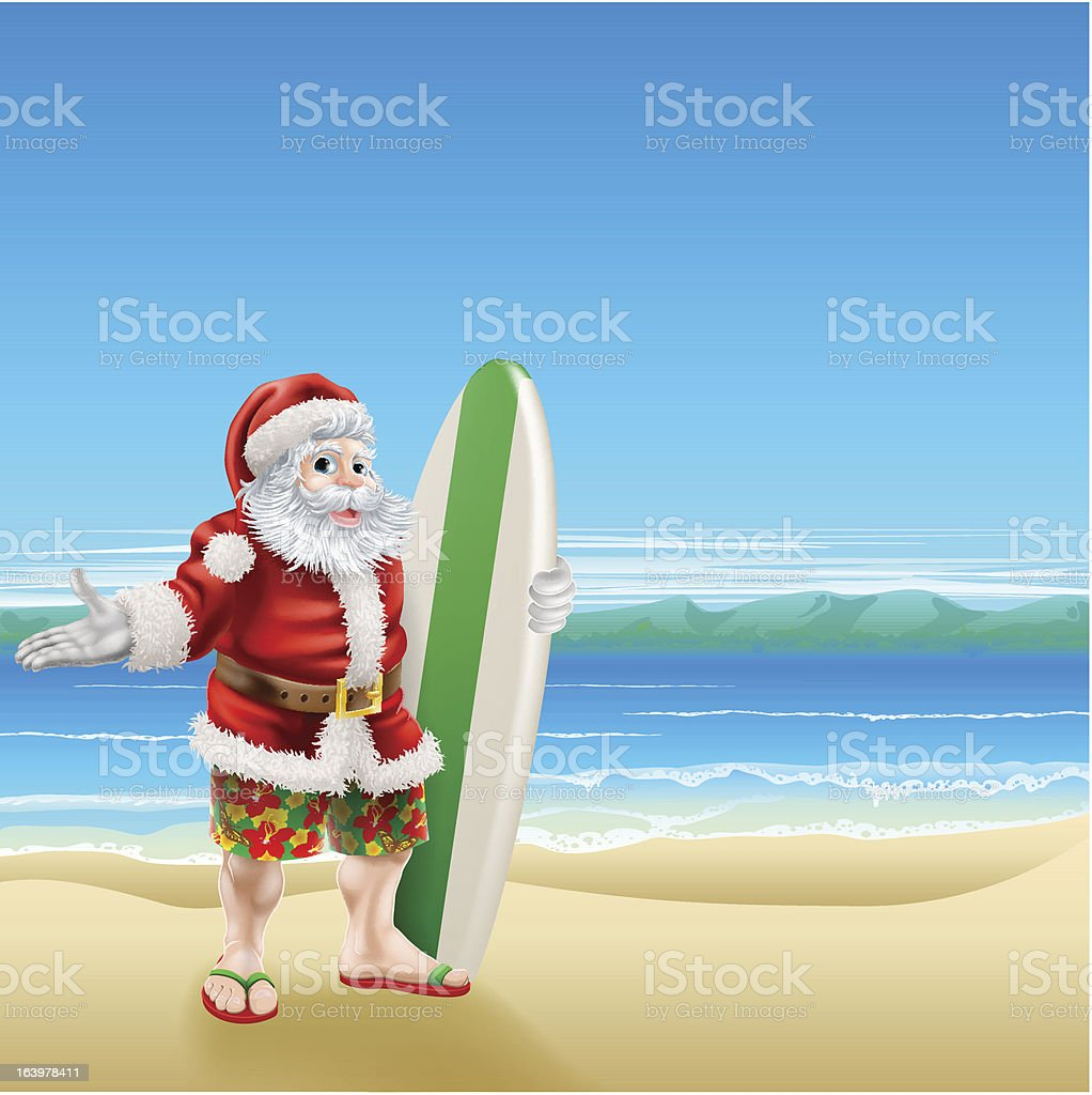 Surf Santa on the beach royalty-free stock vector art