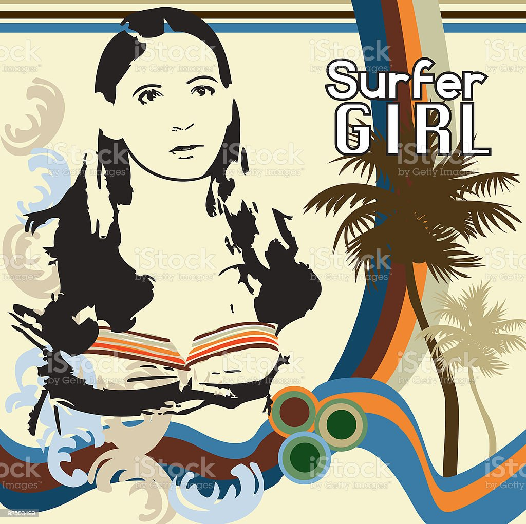 Surfer Girl 2 vector art illustration