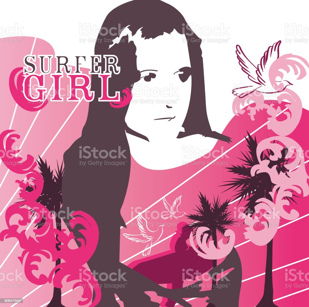 Surfer Girl vector art illustration