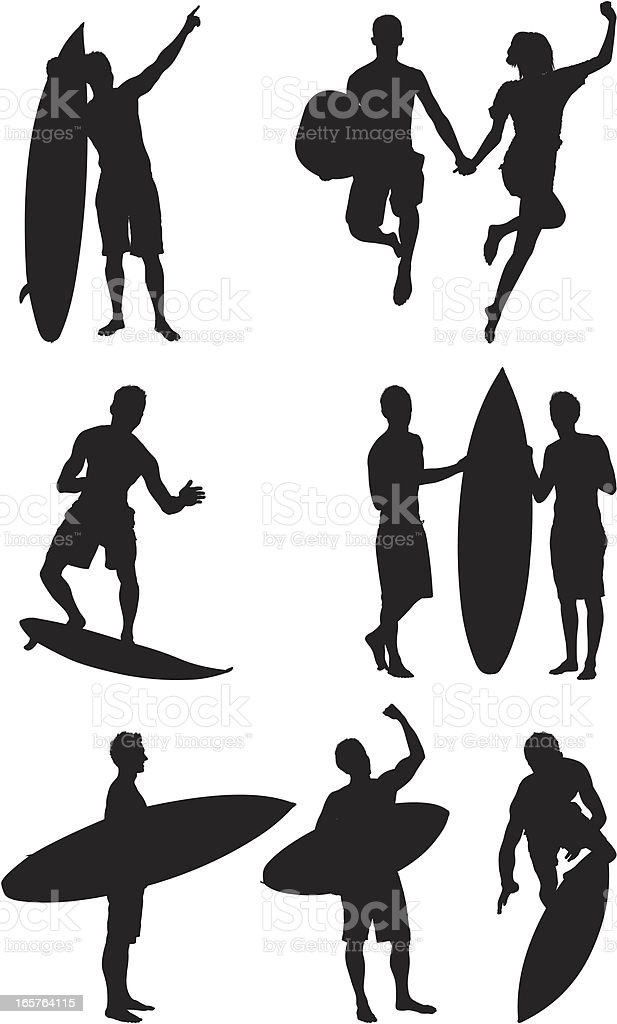 Surfers and friends vector art illustration