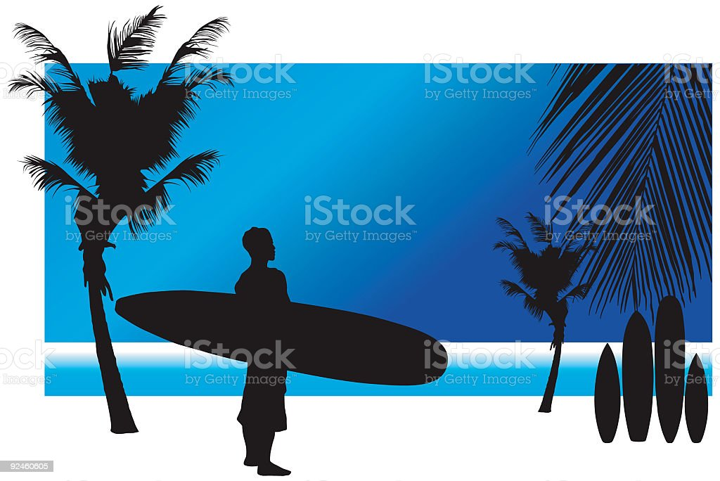 Surfers Morning vector art illustration