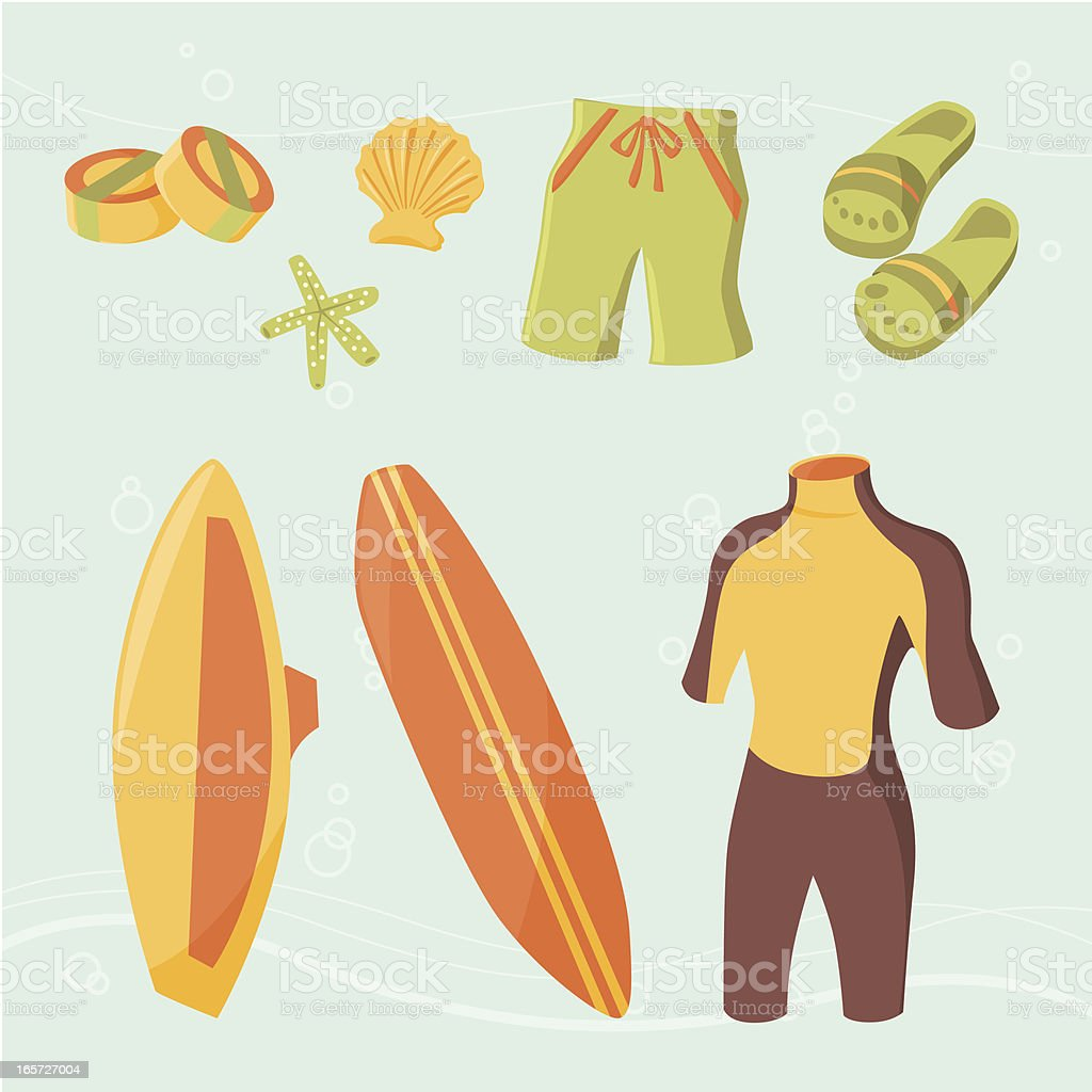 Surfing icons royalty-free stock vector art