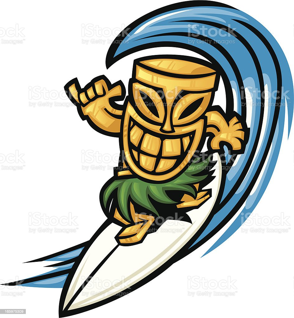 surfing tiki vector art illustration