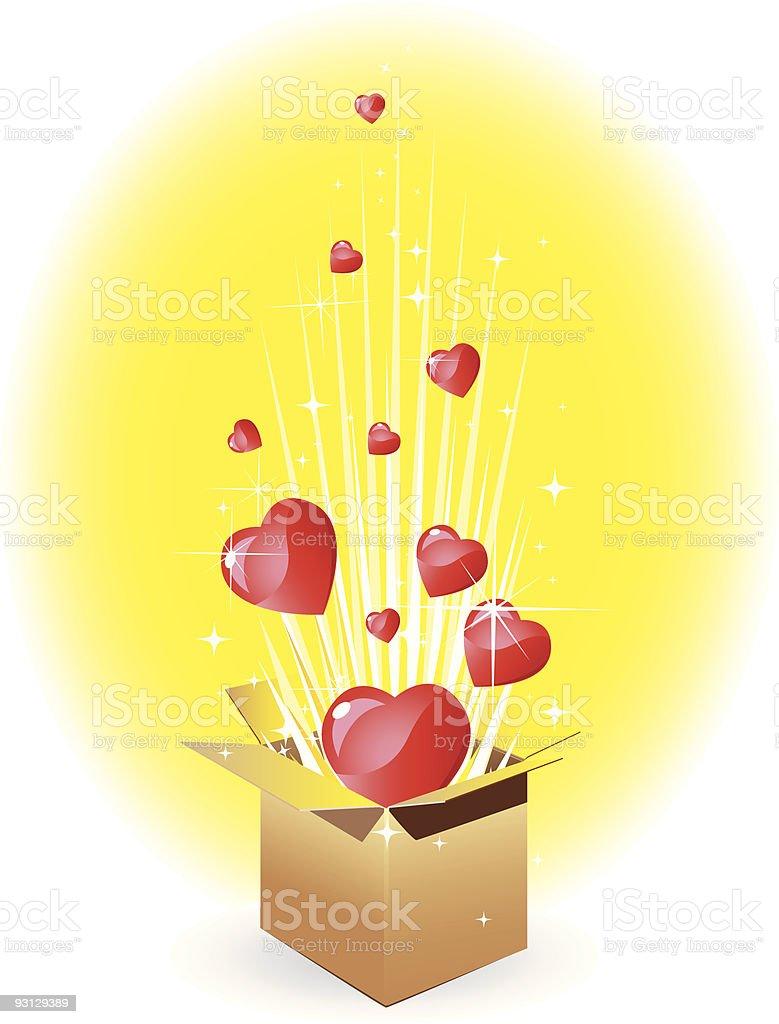 Surprise romantic gift royalty-free stock vector art