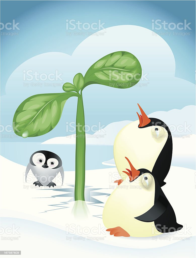 Surprised penguins and green shoot. royalty-free stock vector art