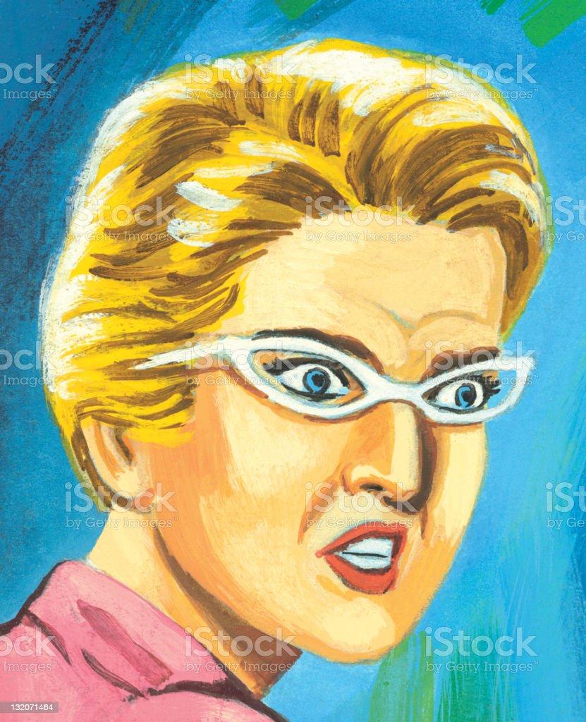 Surprised Woman in Glasses vector art illustration