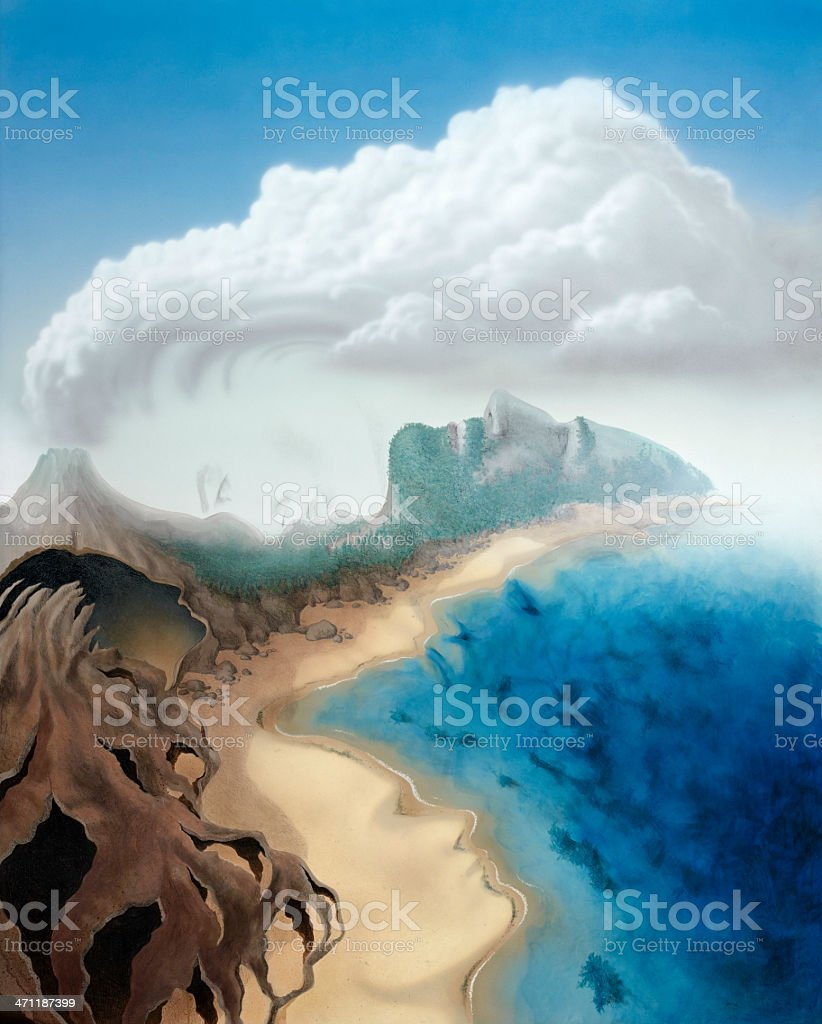 surreal faces in a virtual landscape royalty-free stock vector art