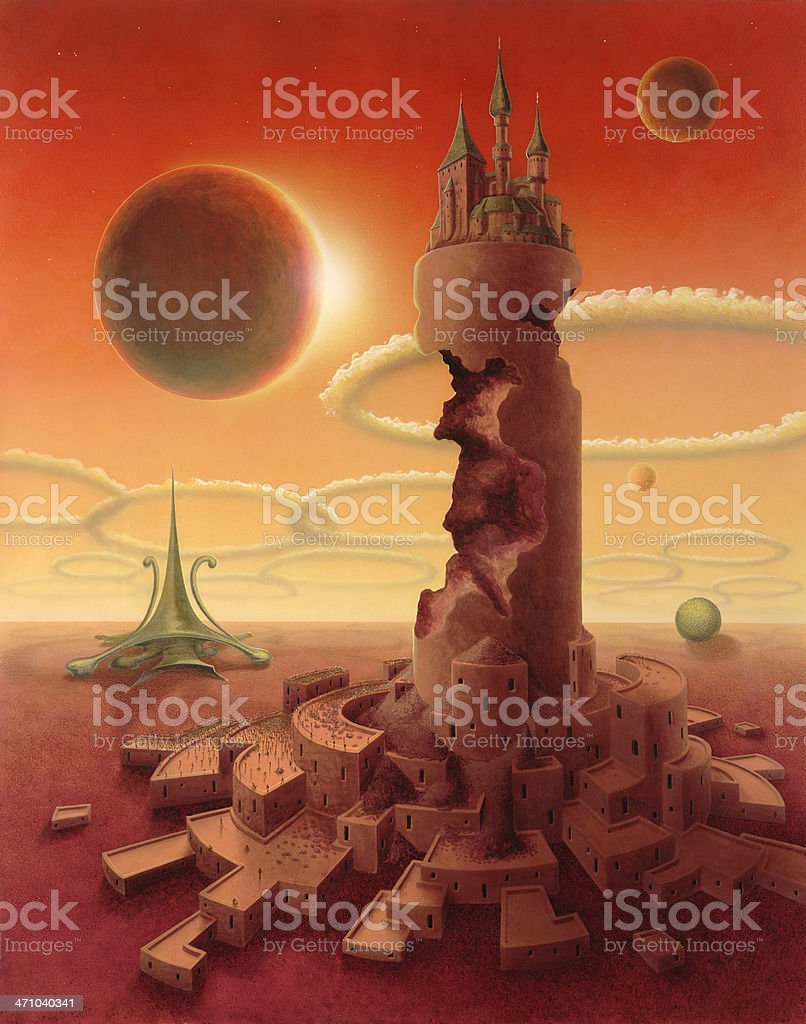 surreal futuristic scenery royalty-free stock vector art