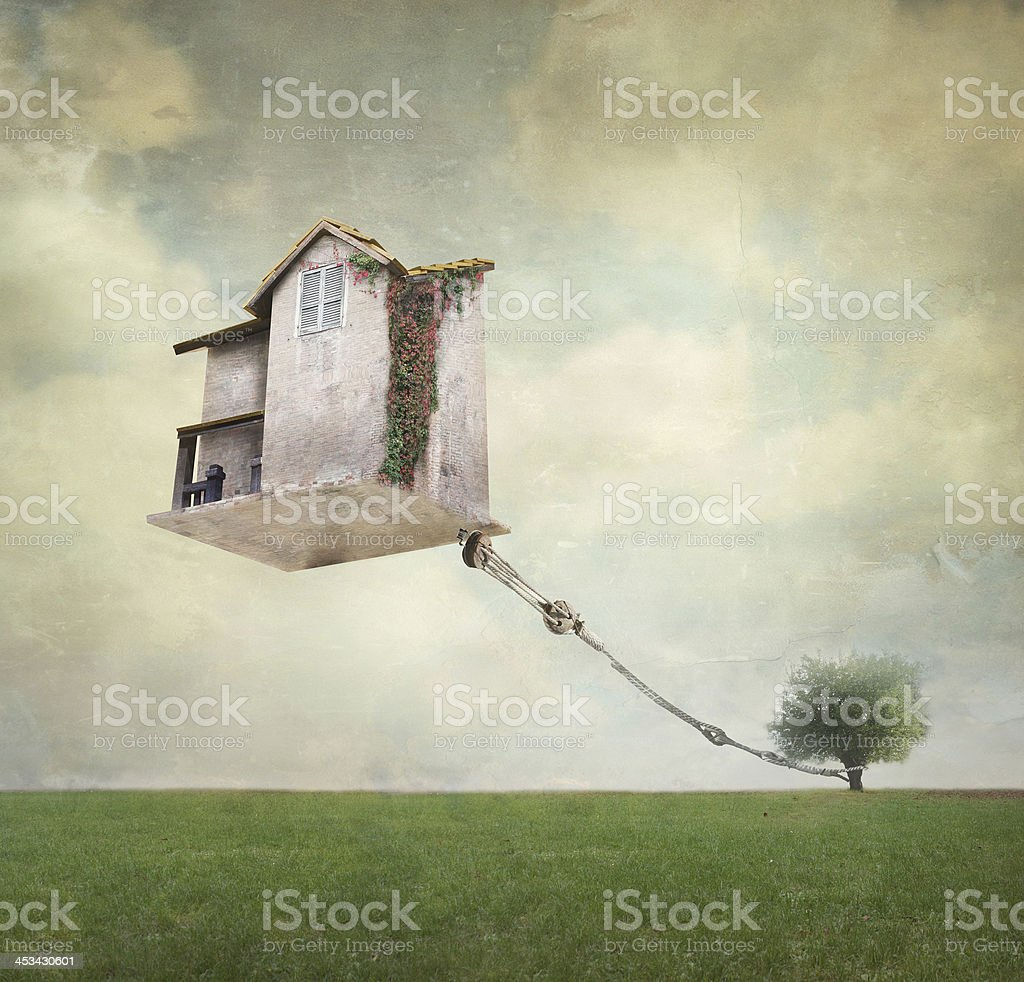 Surreal house vector art illustration