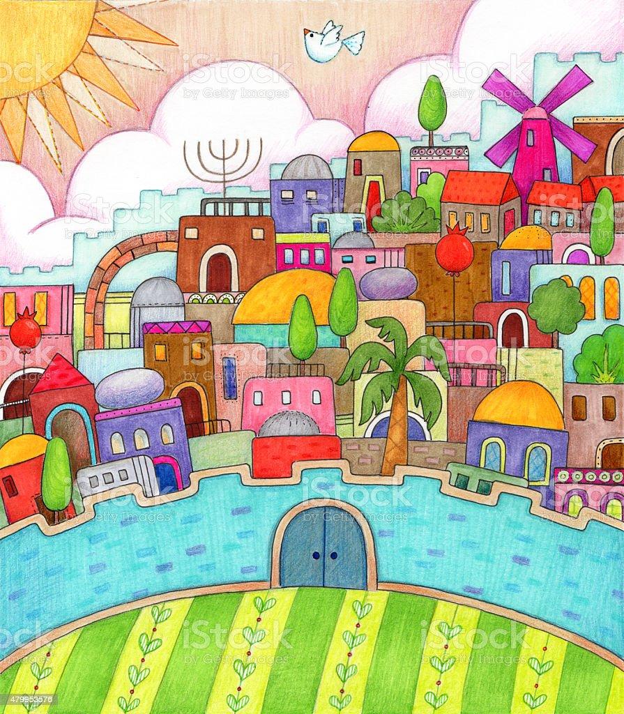 Surreal Jerusalem vector art illustration