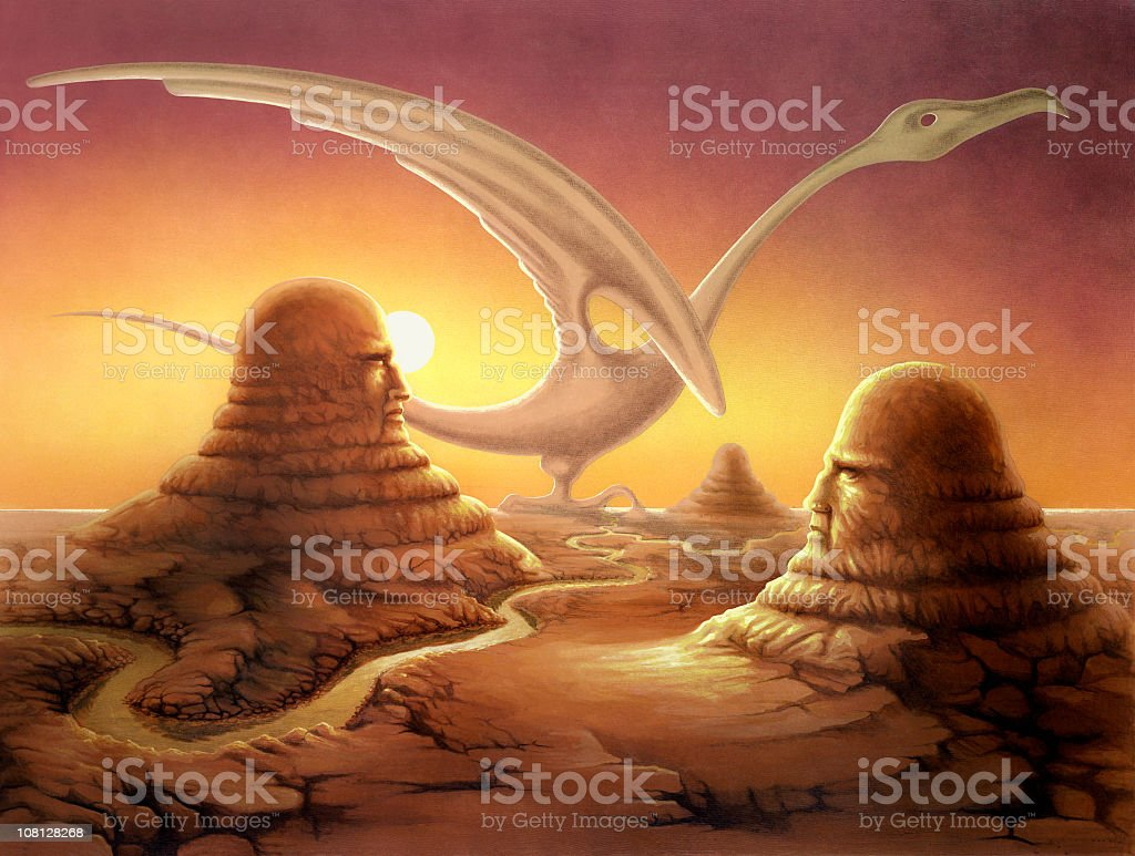 surreal painting with strange stone sceneries vector art illustration