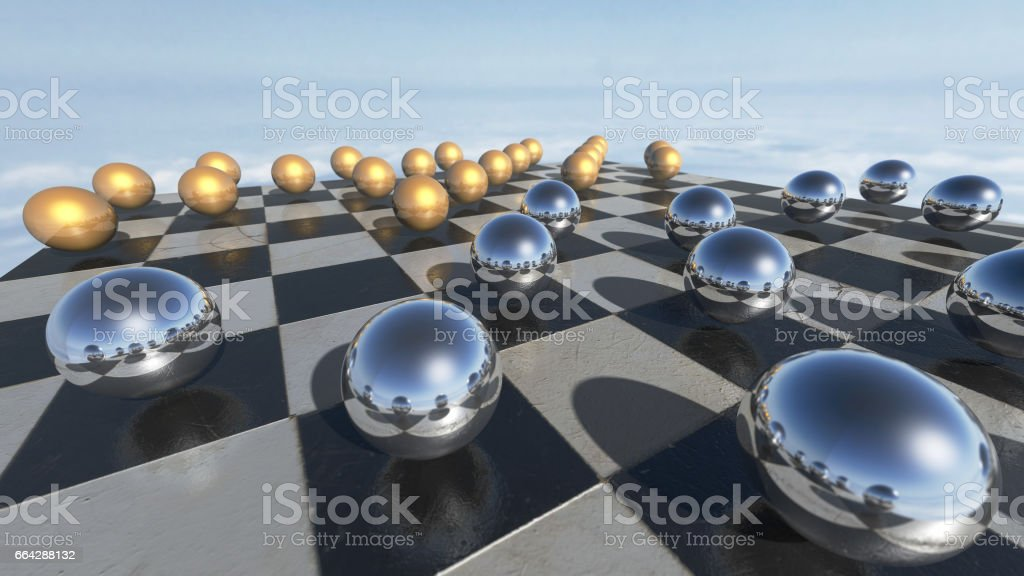 Surreal oprganic spheres on a checkerboard. 3D rendering stock photo