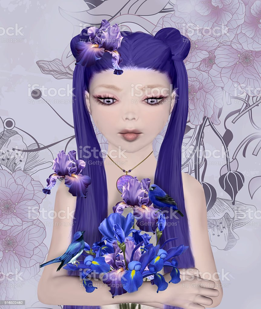 Surreal portrait of a girl with iris bouquet vector art illustration