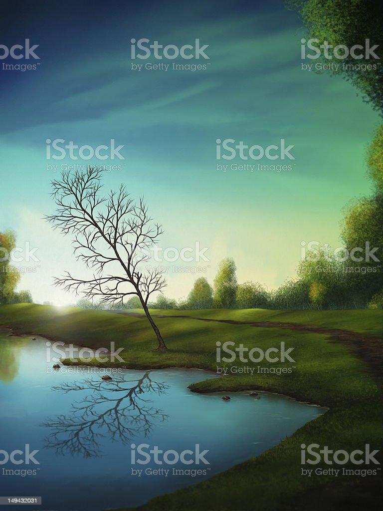 Surreal Reflection - Digital Painting vector art illustration