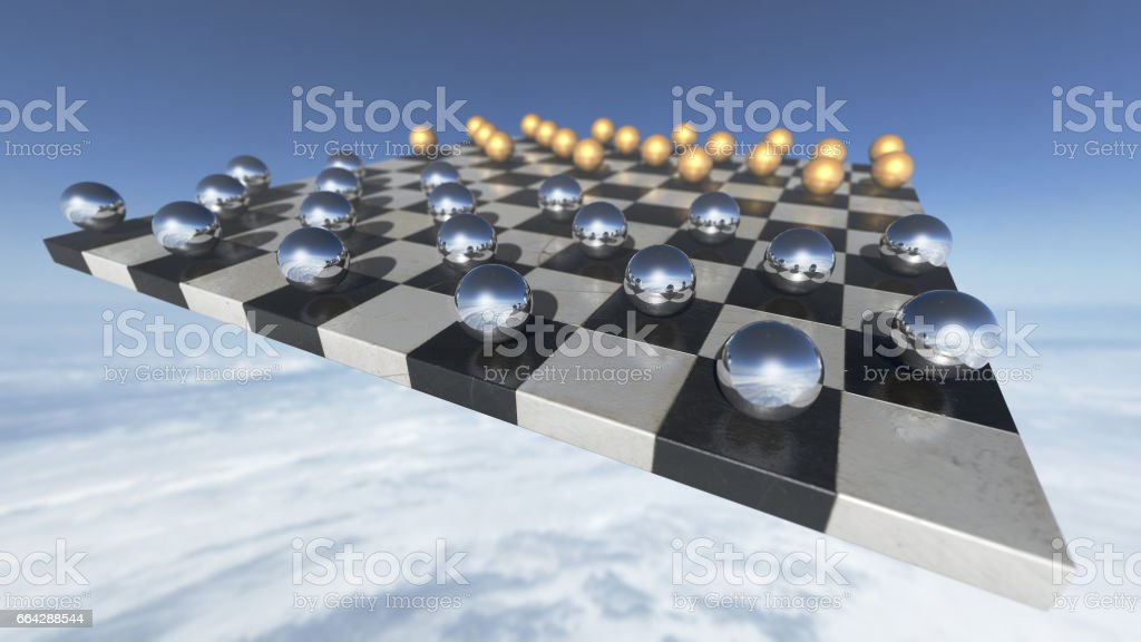 Surreal transparent spheres on a chess plate. 3D rendering stock photo