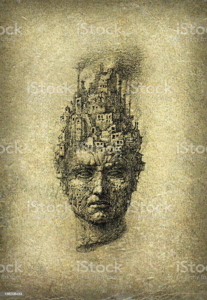 Surrealistic head vector art illustration