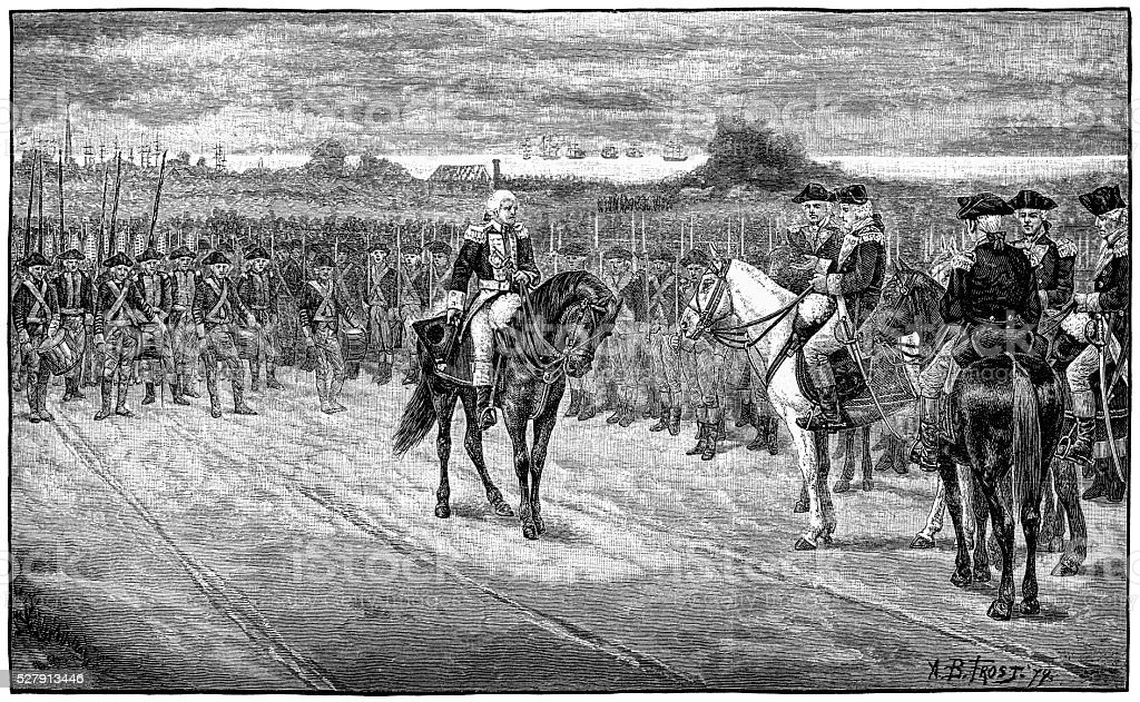 Surrender of Cornwallis at Yorktown 1880 Engraving stock photo