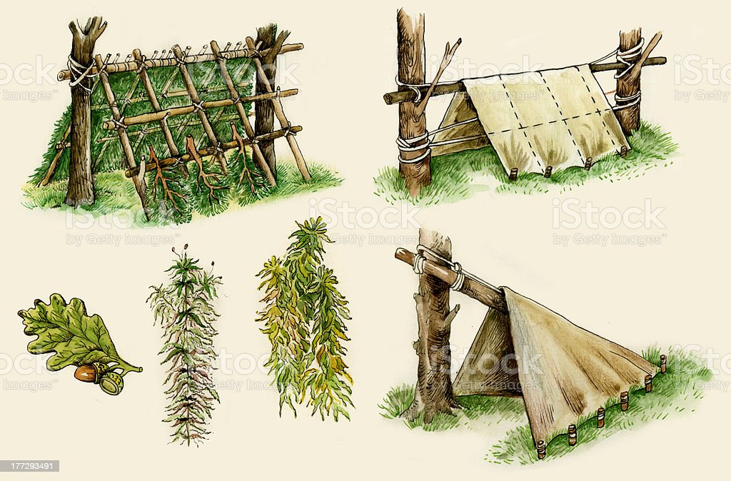Survival shelters royalty-free stock vector art