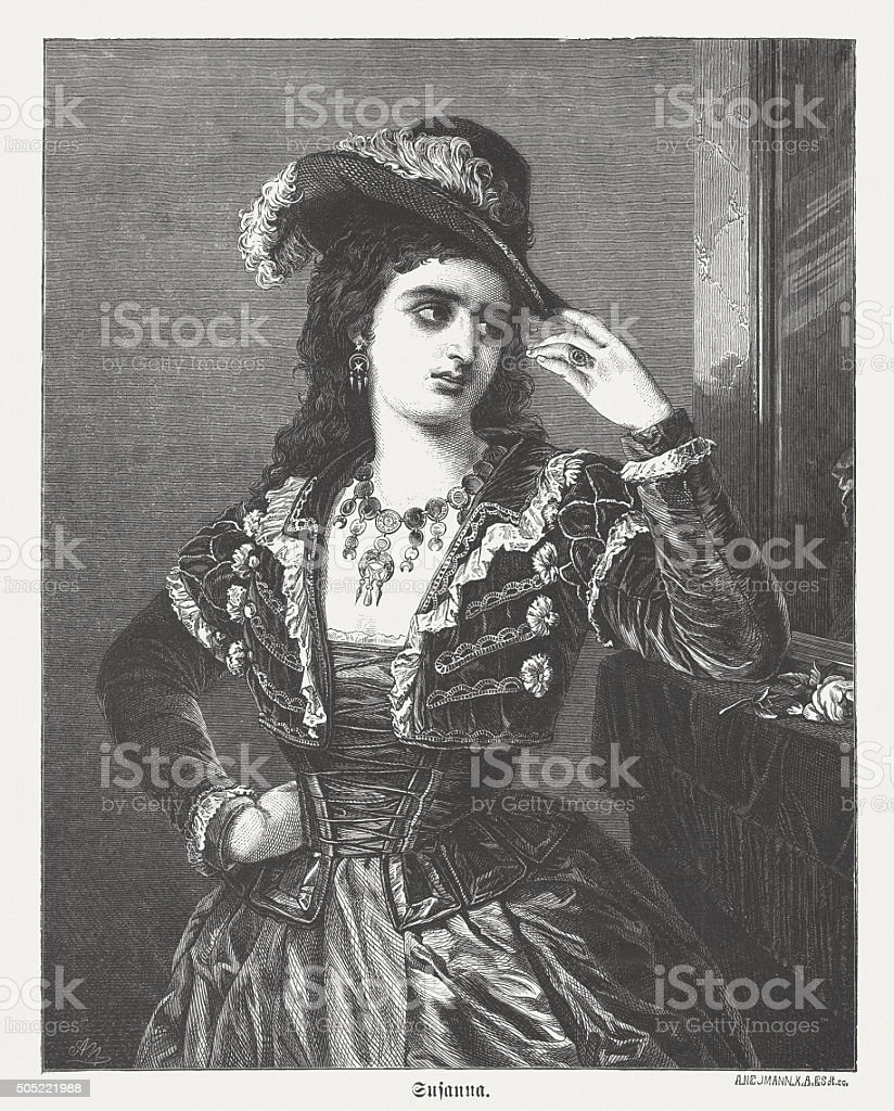 Susanna from the Marriage of Figaro, wood engraving, published 1873 vector art illustration