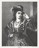 Susanna from the Marriage of Figaro, wood engraving, published 1873