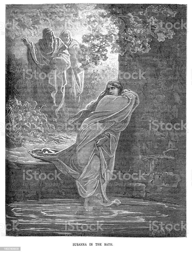 Susanna in the Bath royalty-free stock vector art