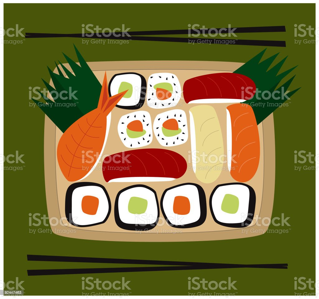 Sushi for two vector art illustration
