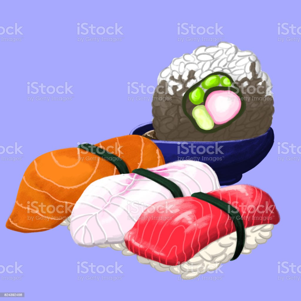 Sushi Group vector art illustration