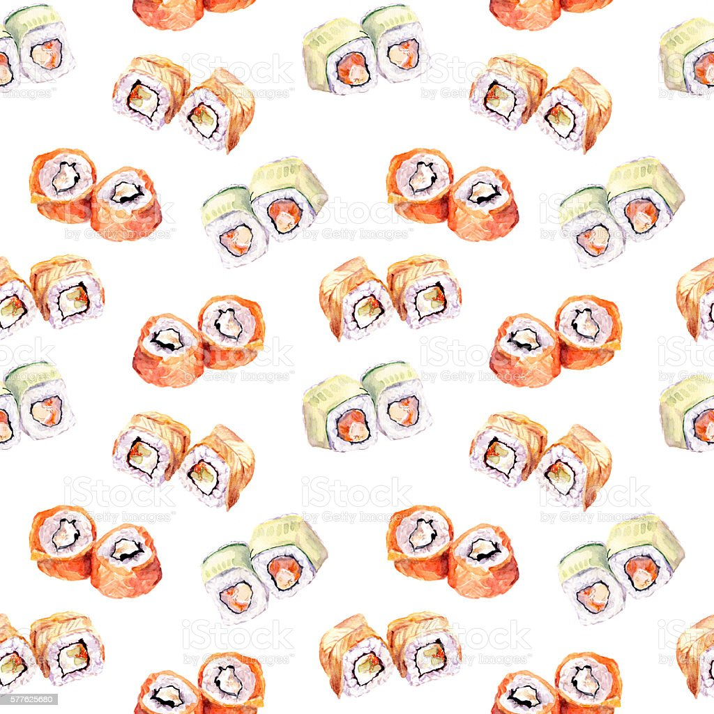 Sushi roll seamless pattern. Watercolor vector art illustration