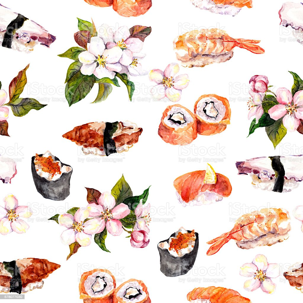 Sushi, sakura flowers seamless repeat pattern. Watercolor food vector art illustration