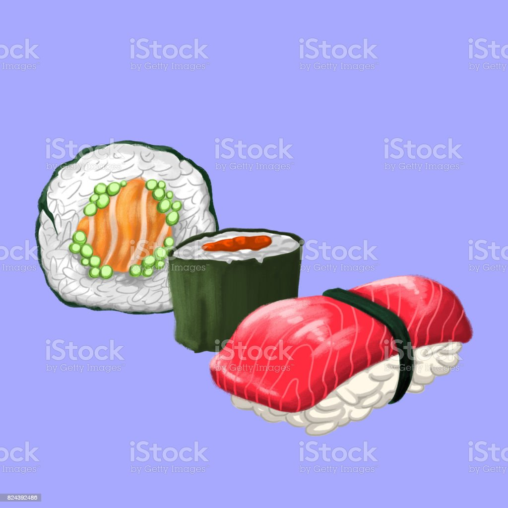 Sushi Sampler vector art illustration