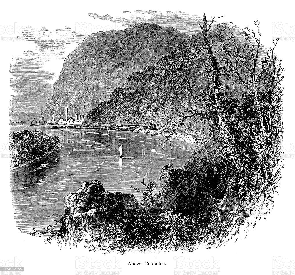 Susquehanna River above Columbia, USA, wood engraving (1872) royalty-free stock vector art