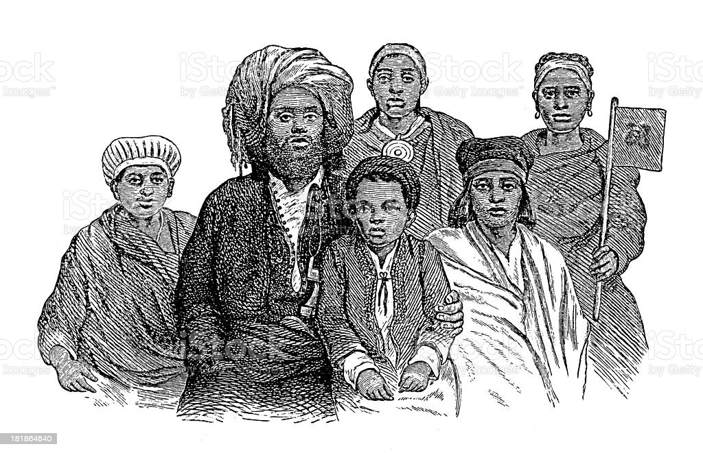 Swahili family, East Africa (antique wood engraving) vector art illustration