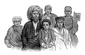 Swahili family, East Africa (antique wood engraving)