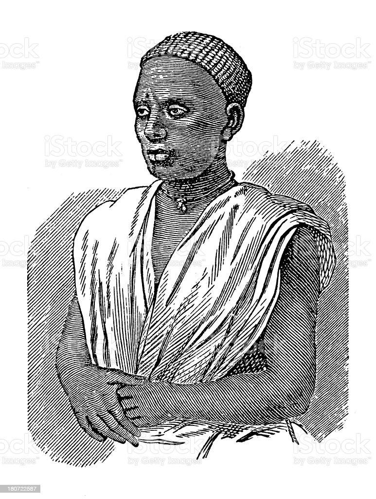Swahili man from Zanzibar (antique wood engraving) vector art illustration