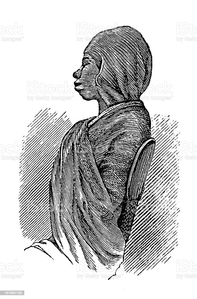 Swahili woman, East Africa (antique wood engraving) vector art illustration