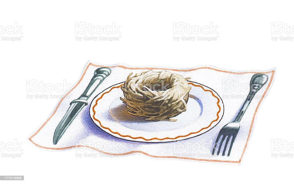 Swallow's nest. vector art illustration