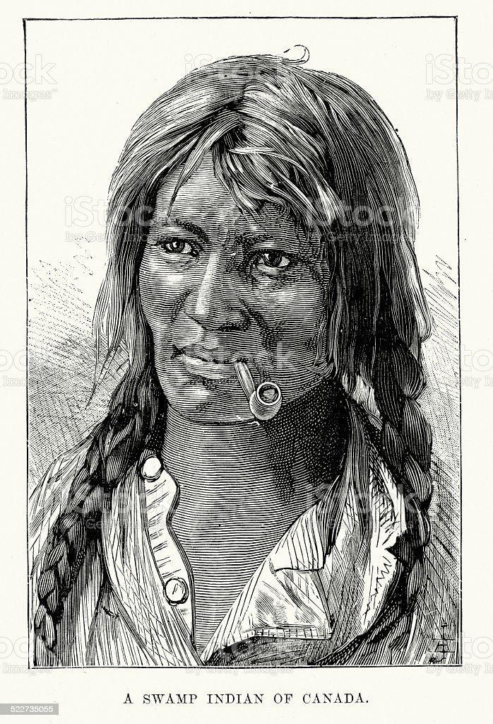 Swamp Indian of Canada - Swampy Cree vector art illustration