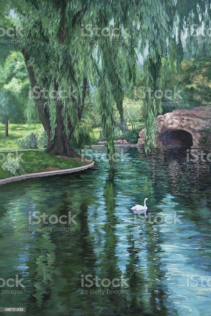 Swan in a Park Pond vector art illustration