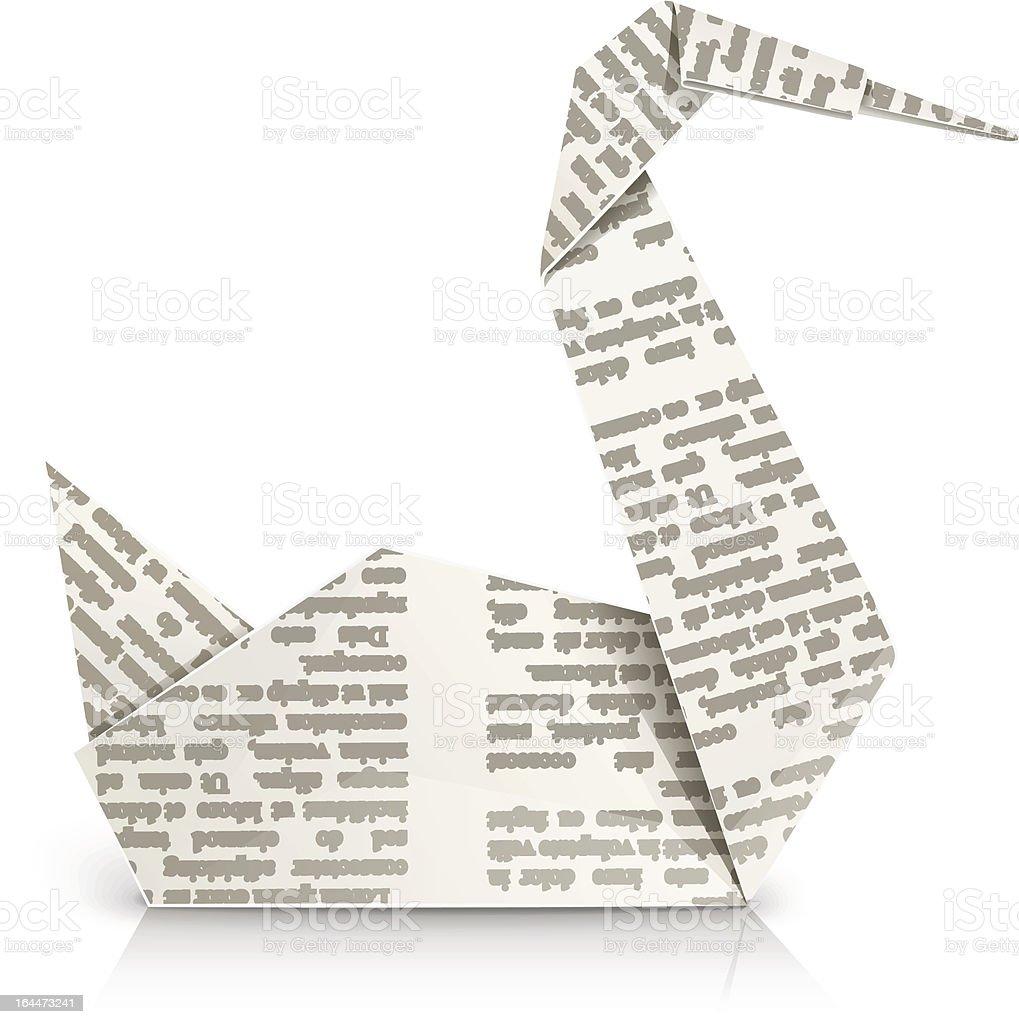 swan origami toy vector art illustration