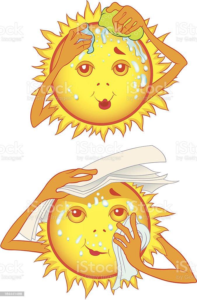 Sweating summer sun cartoon character vector art illustration