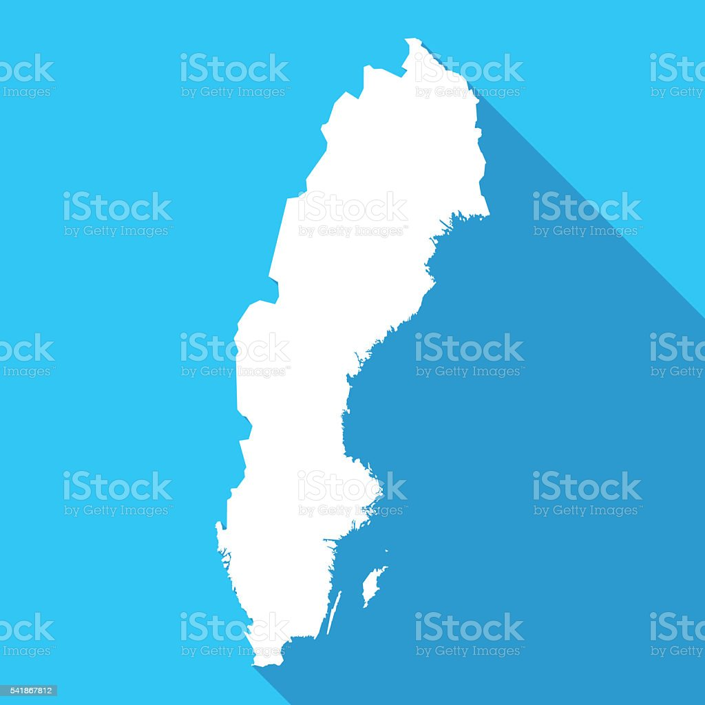 Sweden long shadow map in white on a blue background vector art illustration