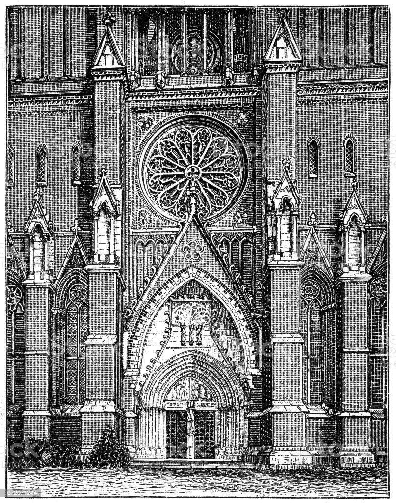 Sweden. Uppsala Cathedral, the highest in Scandinavia. vector art illustration