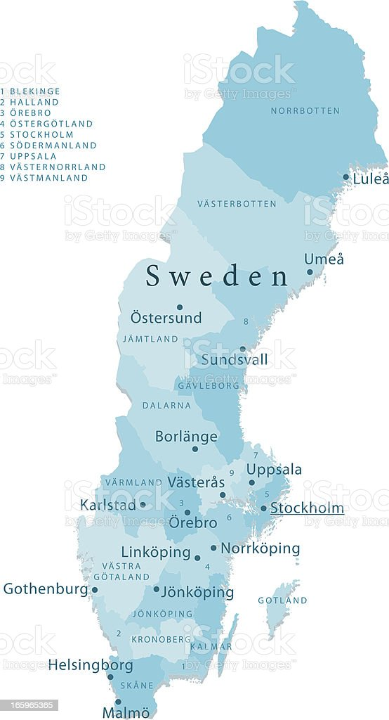 Sweden Vector Map Regions Isolated vector art illustration