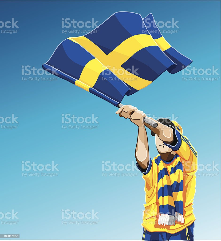 Sweden Waving Flag Soccer Fan royalty-free stock vector art