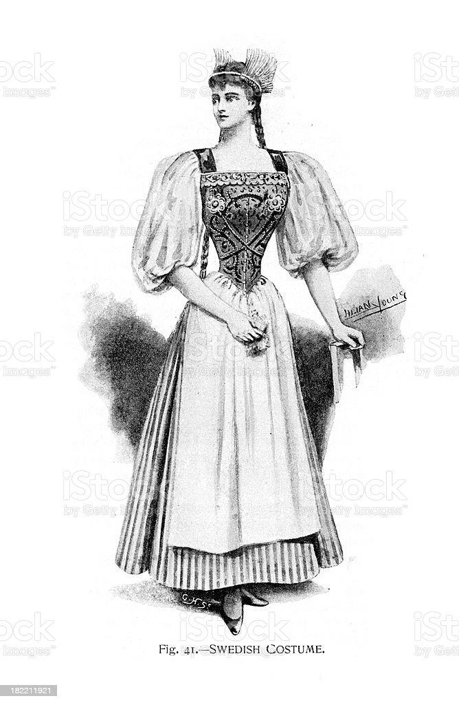 Swedish Costume - Victorian Fashion vector art illustration