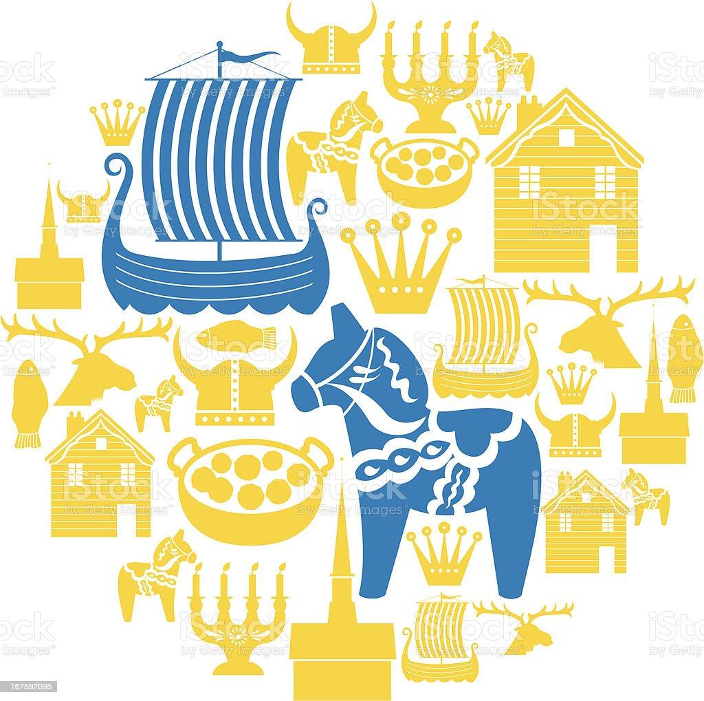 Swedish Icon Montage vector art illustration